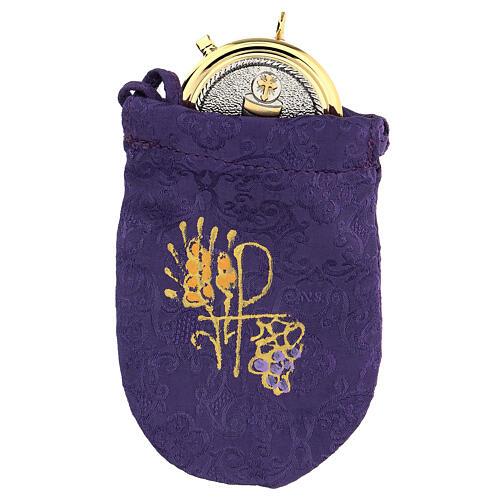 Bolsa relicario eucarístico de jacquard violeta d. 5 cm 1