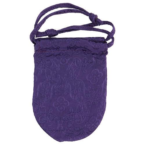 Bolsa relicario eucarístico de jacquard violeta d. 5 cm 6