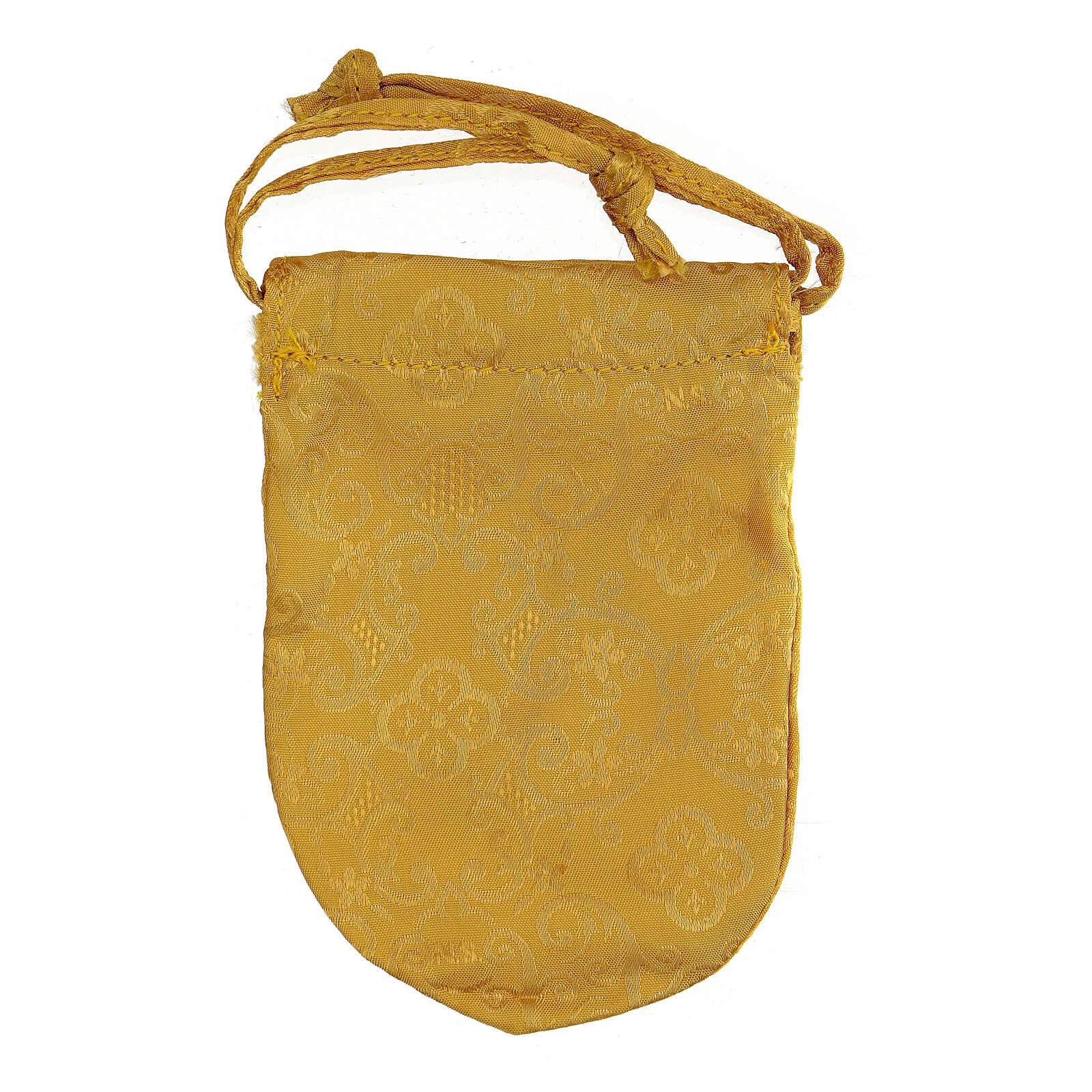 Bolsa dorada con relicario esmaltado 5 cm cruz y manutergio 3