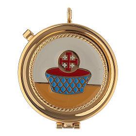 Bolsa dorada con relicario esmaltado 5 cm cruz y manutergio s2