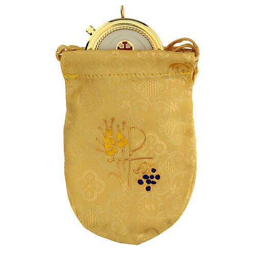 Bolsa dorada con relicario esmaltado 5 cm cruz y manutergio 1