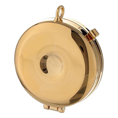 Bolsa dorada con relicario esmaltado 5 cm cruz y manutergio 5