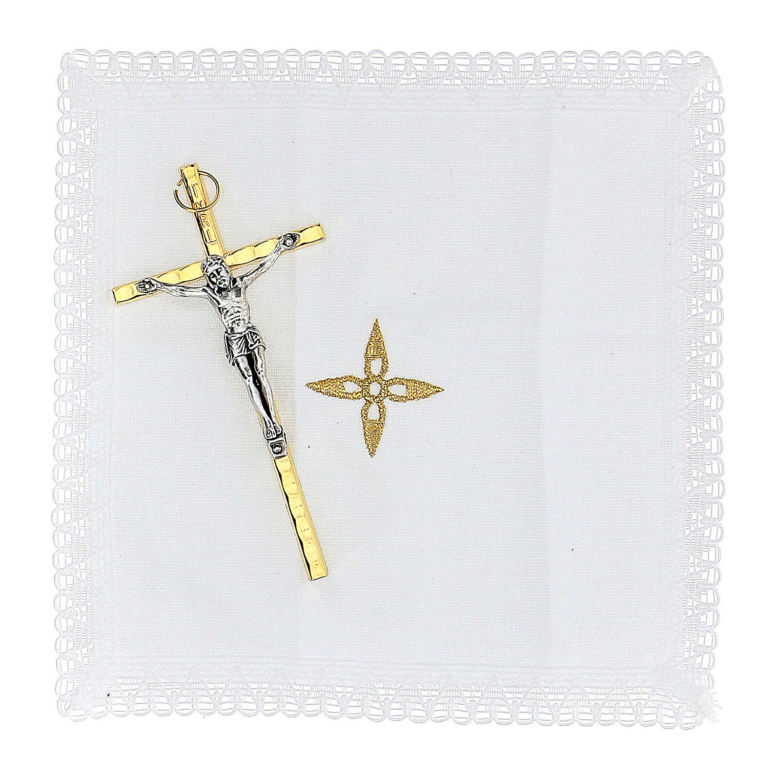 Golden burse with enamelled 2 in pyx crucifix and purificator 3
