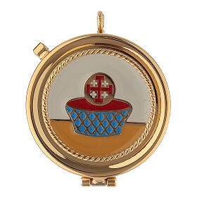 Golden burse with enamelled 2 in pyx crucifix and purificator s2