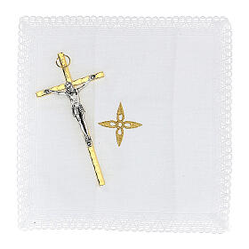 Golden burse with enamelled 2 in pyx crucifix and purificator s3