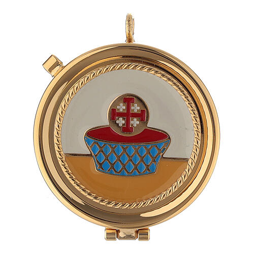 Golden burse with enamelled 2 in pyx crucifix and purificator 2