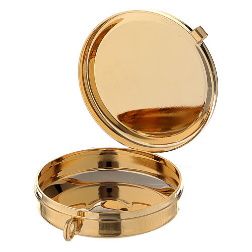 Golden burse with enamelled 2 in pyx crucifix and purificator 4