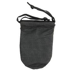 Bolsa con relicario 5 cm de raso gris pintado a mano s6