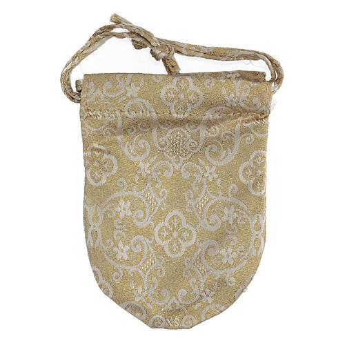 Bolsa para relcario 5 cm blanco con bordados dorados 6