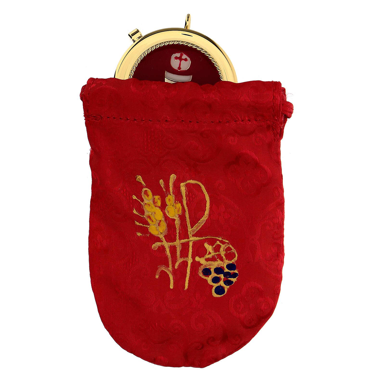 Bolsa para relicario 5 cm de raso rojo con manutergio y cruz 3