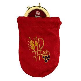 Bolsa para relicario 5 cm de raso rojo con manutergio y cruz s1