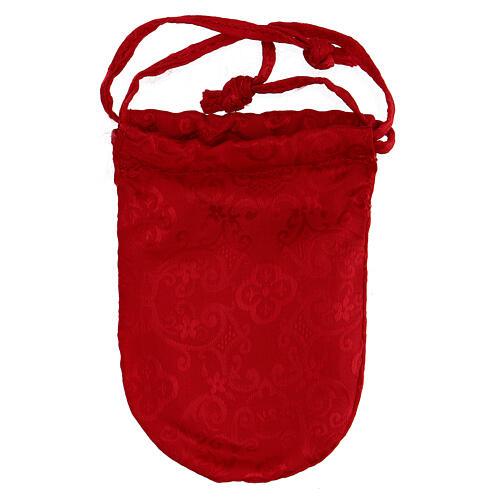 Bolsa para relicario 5 cm de raso rojo con manutergio y cruz 6