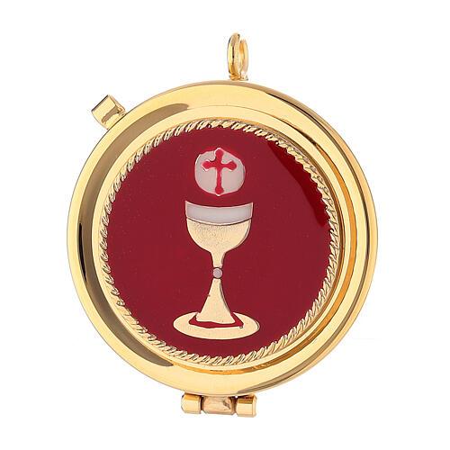 Sacchetto porta teca 5 cm in raso rosso con purifichino e croce 2