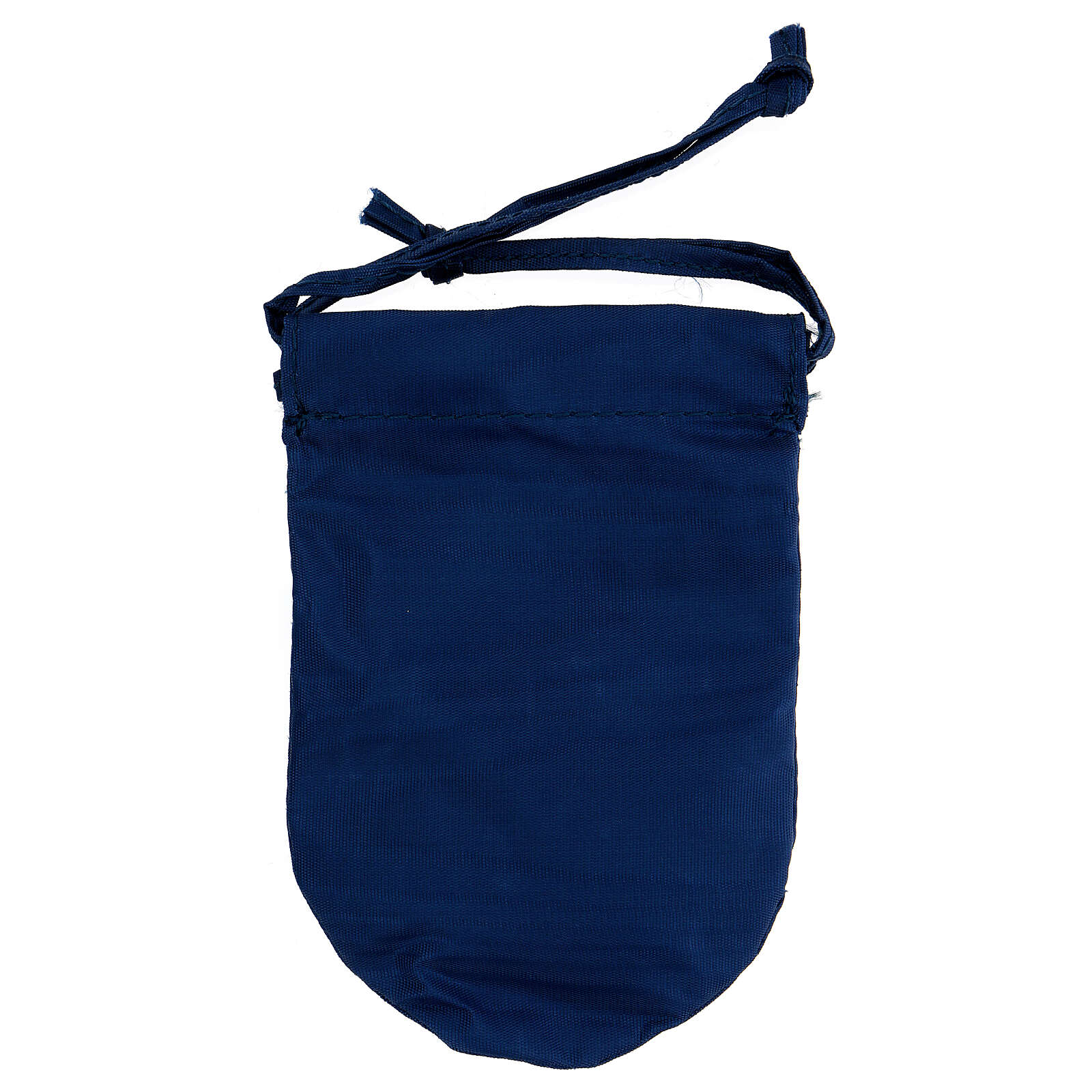 Sacchetto porta viatico raso blu con teca 5 cm ottone 24k 3