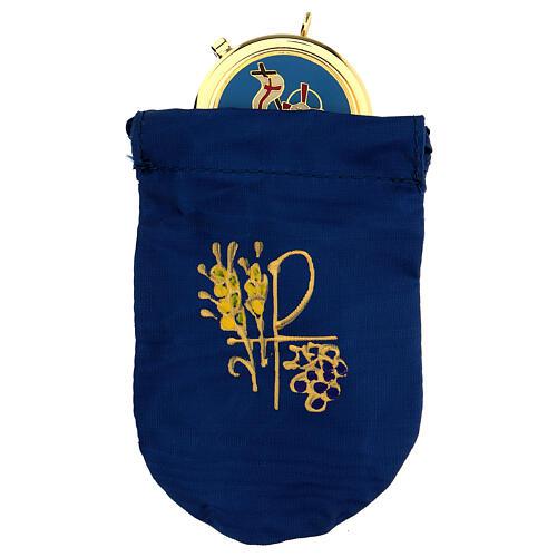 Sacchetto porta viatico raso blu con teca 5 cm ottone 24k 1
