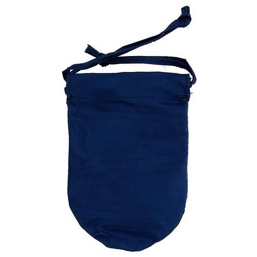 Sacchetto porta viatico raso blu con teca 5 cm ottone 24k 6