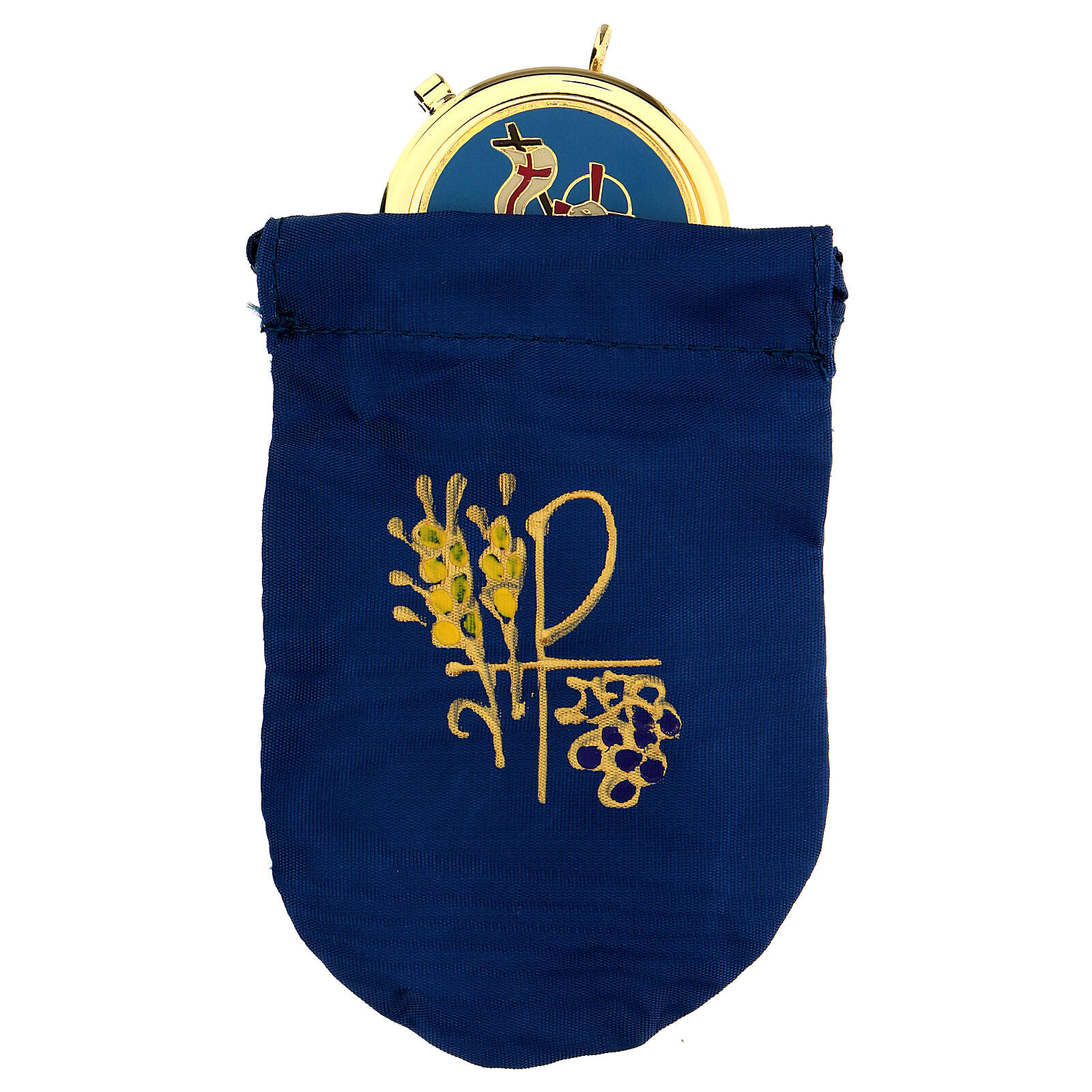 Blue satin burse with 2 in pyx in 24k gold plated brass 3