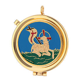 Blue satin burse with 2 in pyx in 24k gold plated brass s2