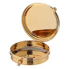 Blue satin burse with 2 in pyx in 24k gold plated brass s4