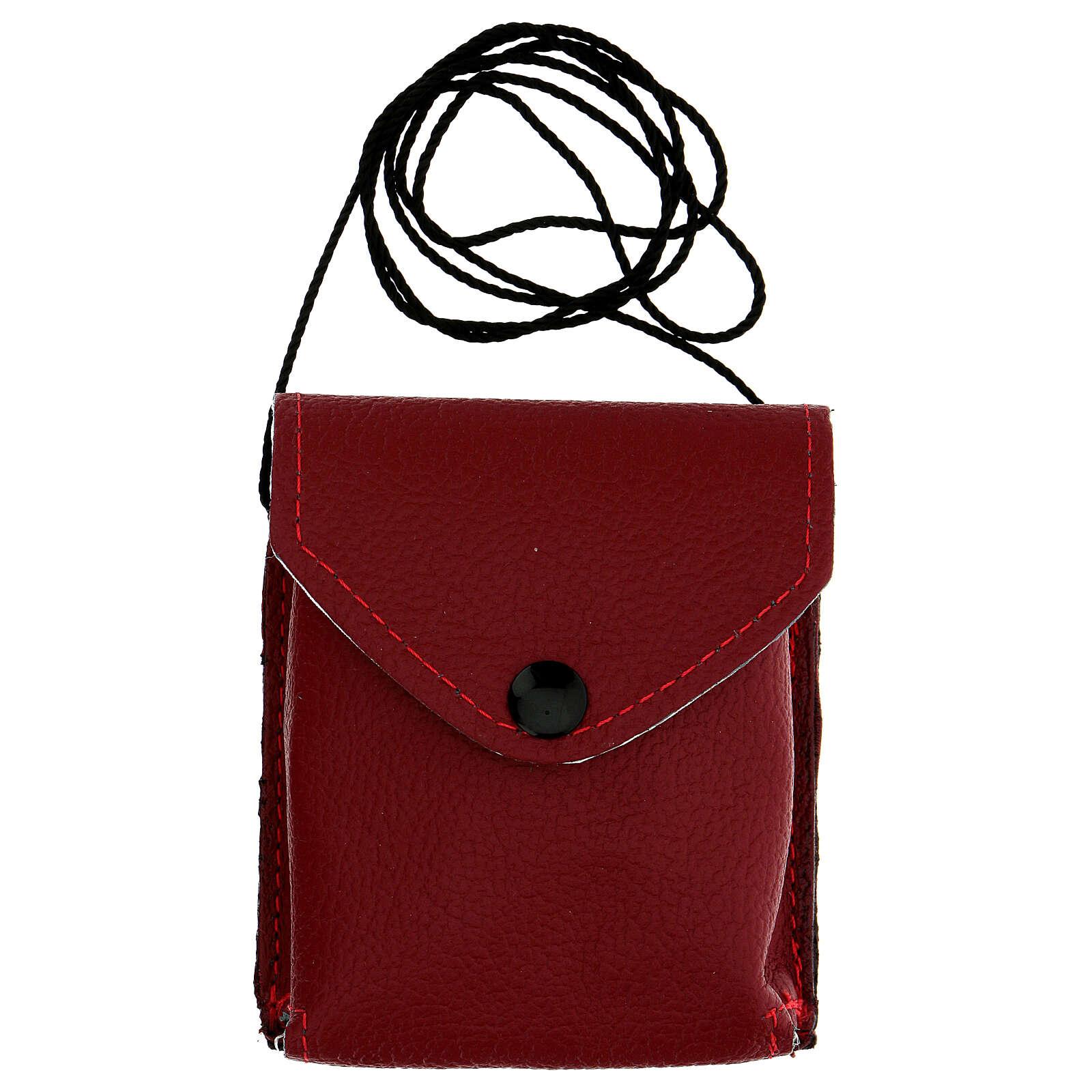 Astuccio porta viatico rosso vera pelle con cordino e teca d. 7,5 cm 3