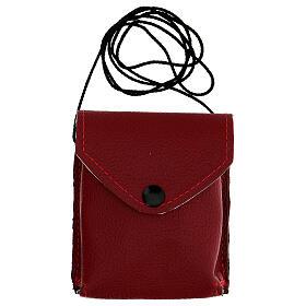 Astuccio porta viatico rosso vera pelle con cordino e teca d. 7,5 cm s6