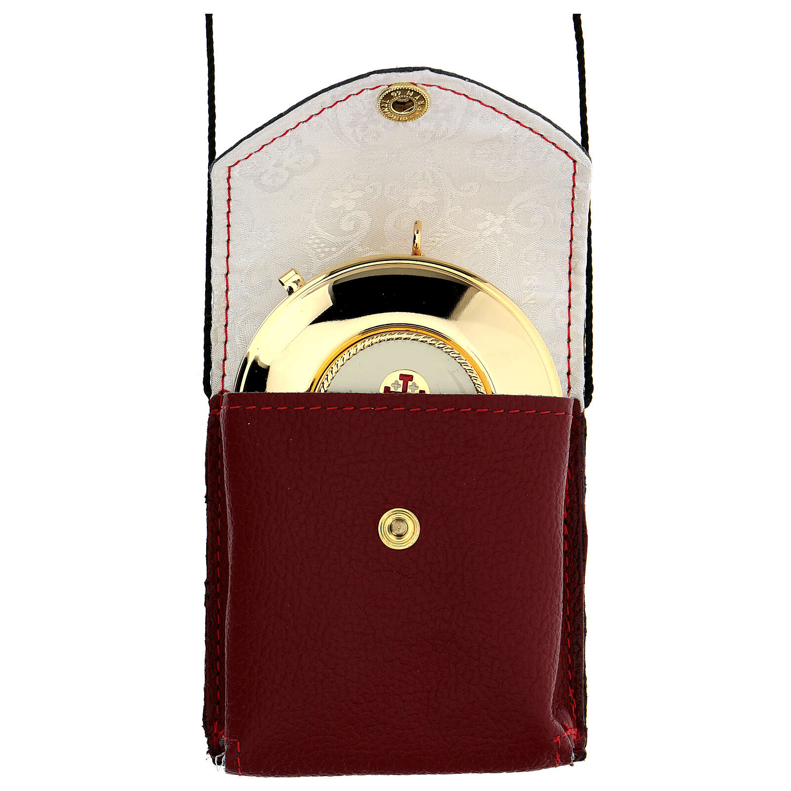 Red leather burse with string and 3 in pyx 3
