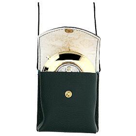 Estuche para viático color verde de verdadero cuero con cuerda y relicario d. 7,5 cm s1