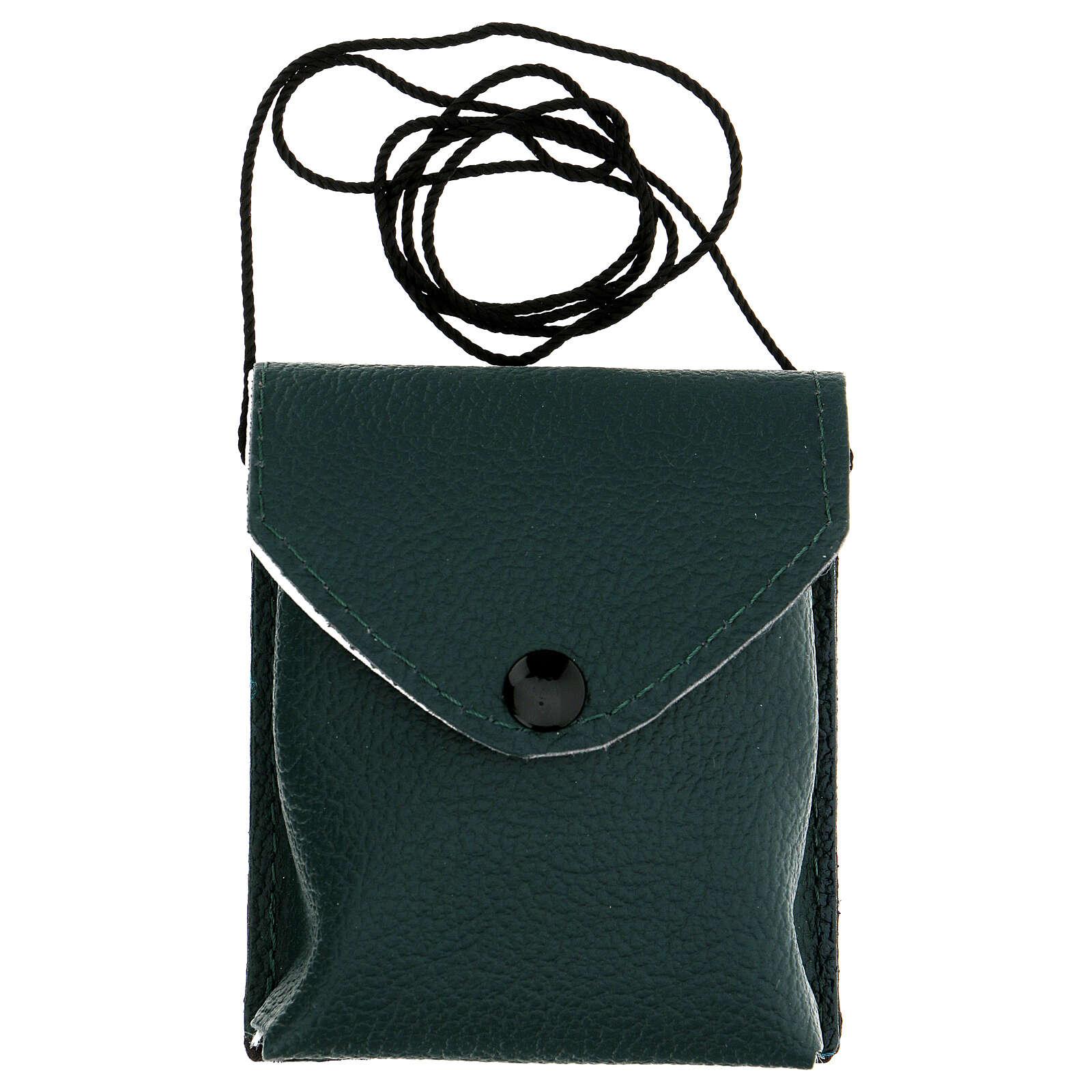 Astuccio porta viatico colore verde in vera pelle con cordino e teca d. 7,5 cm 3