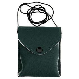 Astuccio porta viatico colore verde in vera pelle con cordino e teca d. 7,5 cm s6