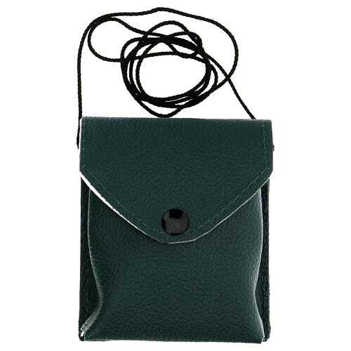 Astuccio porta viatico colore verde in vera pelle con cordino e teca d. 7,5 cm 6