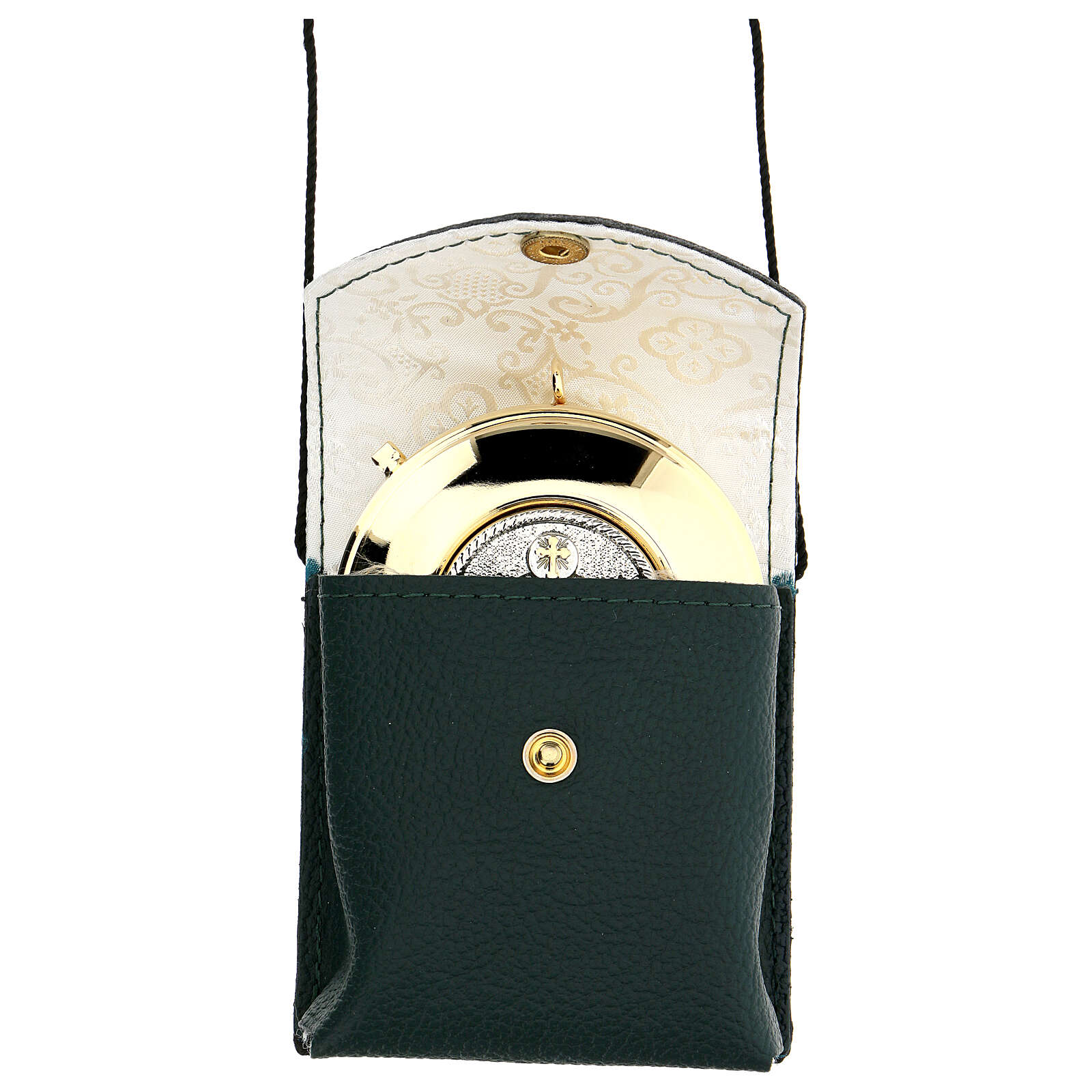 Green leather burse with string and 3 in pyx 3