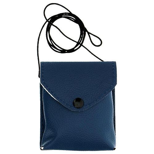 Estuche para relicario d. 7,5 cm de verdadero cuero azul con cuerda 6