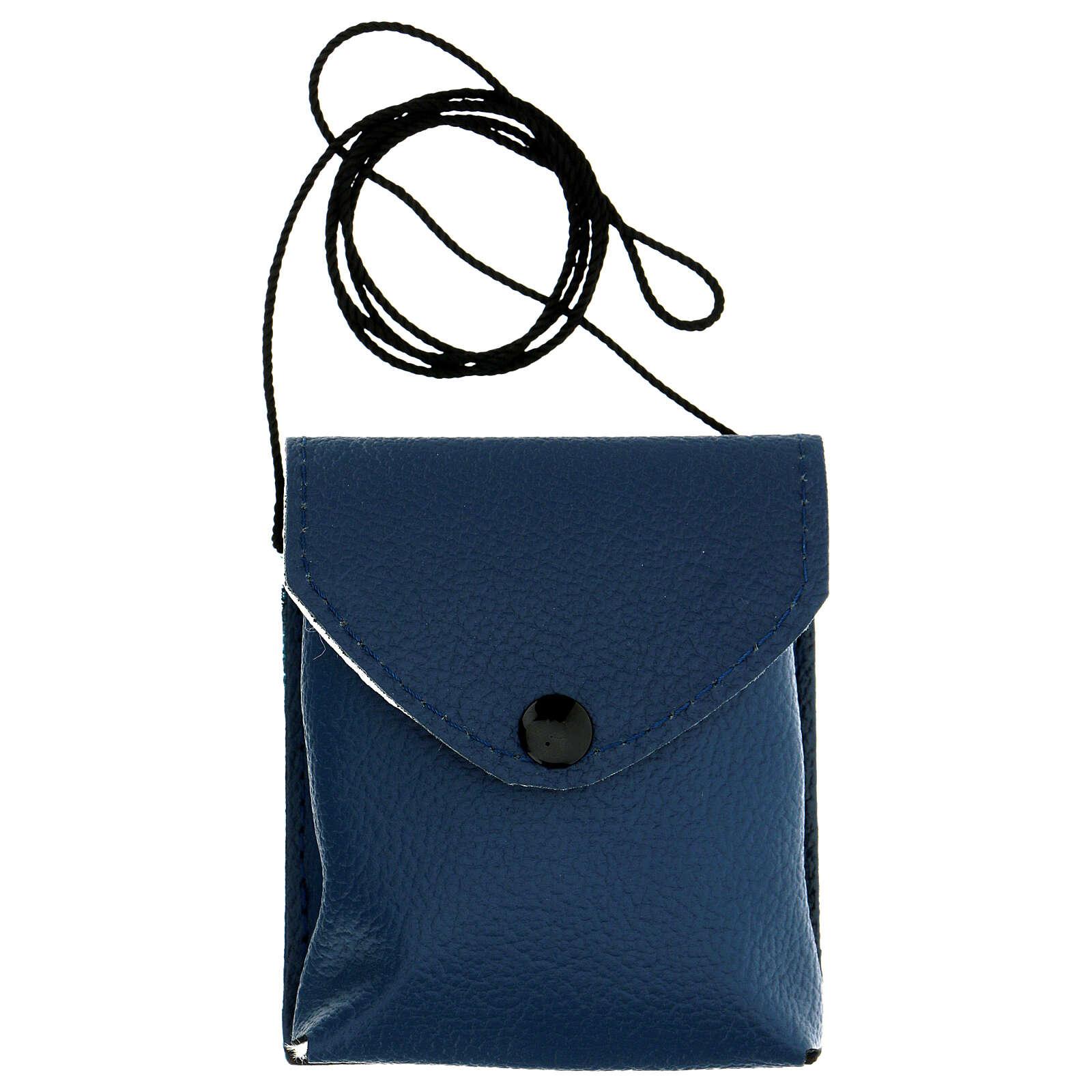 Astuccio porta teca d. 7,5 cm in vera pelle blu con cordino 3