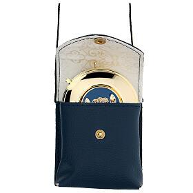 Astuccio porta teca d. 7,5 cm in vera pelle blu con cordino s1