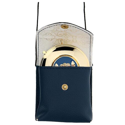 Astuccio porta teca d. 7,5 cm in vera pelle blu con cordino 1