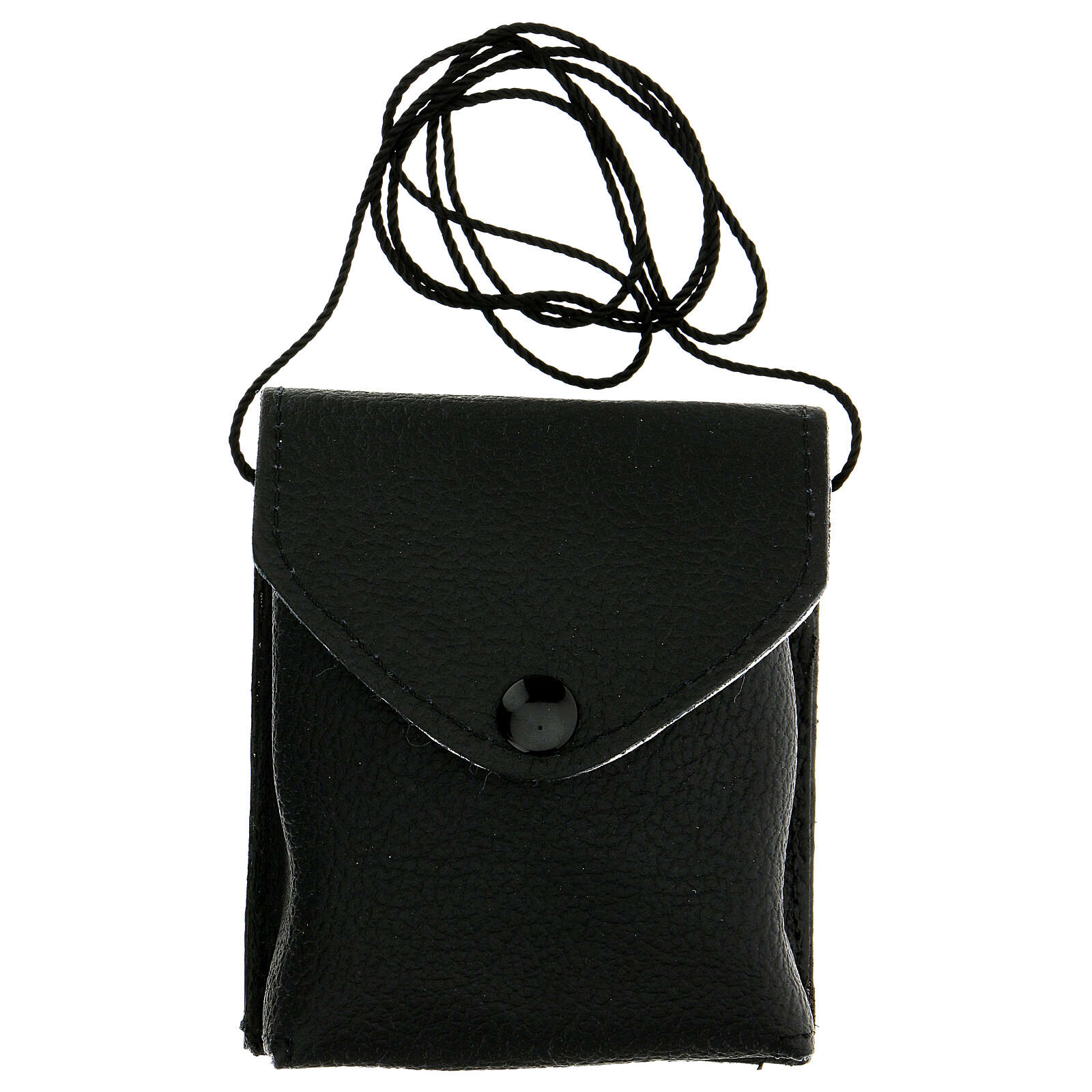 Estuche para viático de verdadero cuero negro con cuerda y relicario 7,5 cm 3