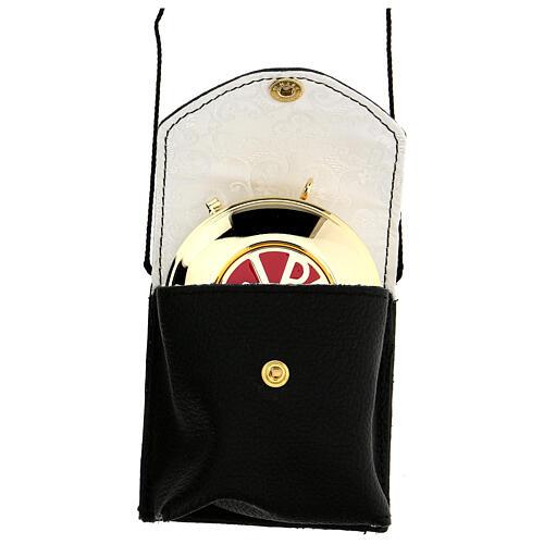 Estuche para viático de verdadero cuero negro con cuerda y relicario 7,5 cm 1