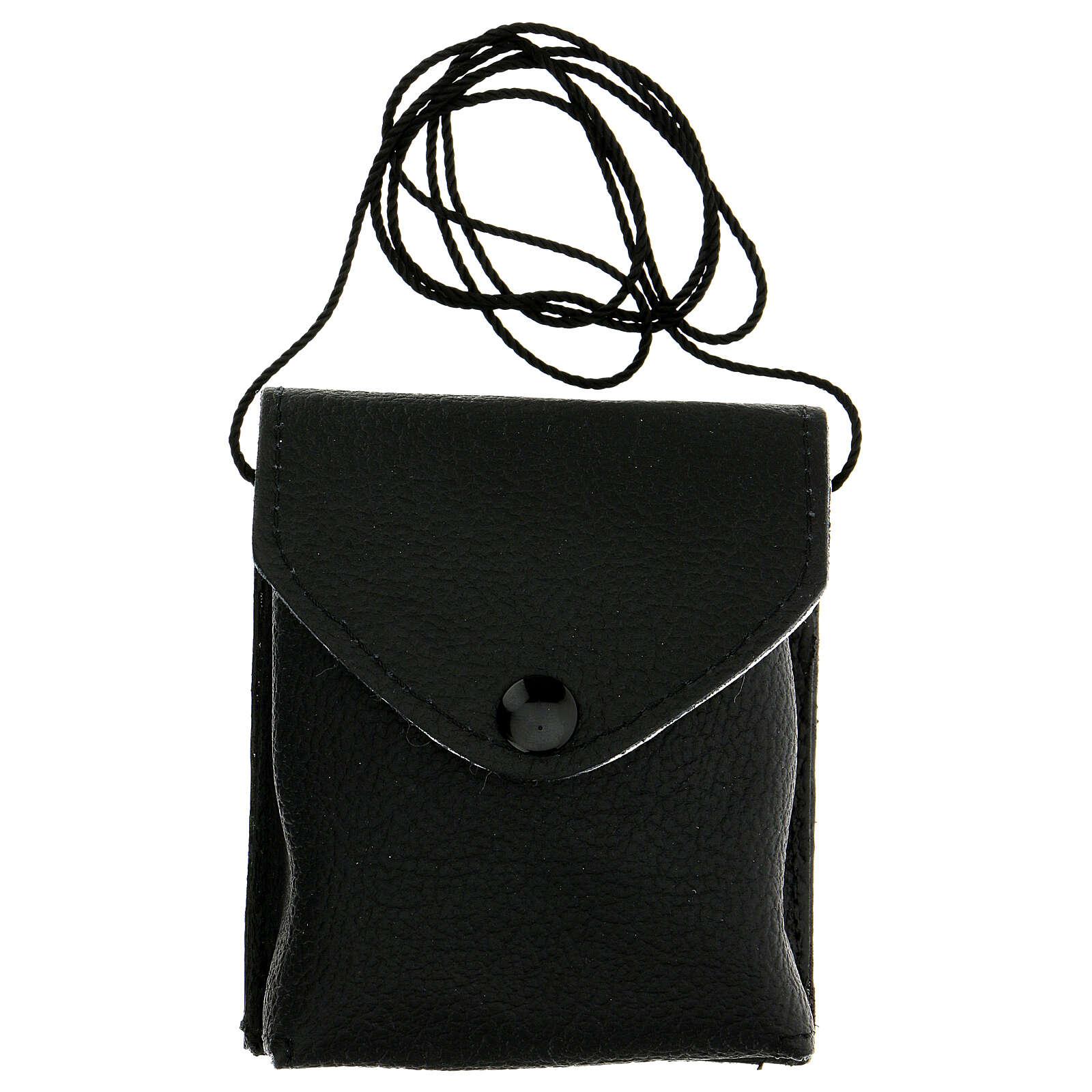 Astuccio porta viatico in vera pelle nero con cordino e teca 7,5 cm 3