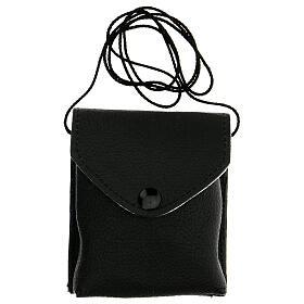 Astuccio porta viatico in vera pelle nero con cordino e teca 7,5 cm s6