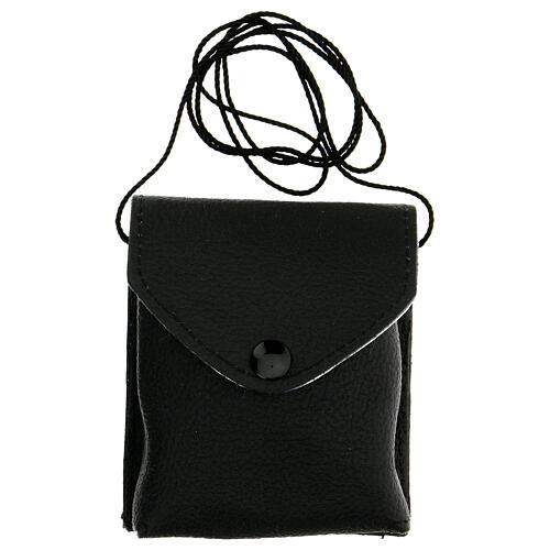 Astuccio porta viatico in vera pelle nero con cordino e teca 7,5 cm 6