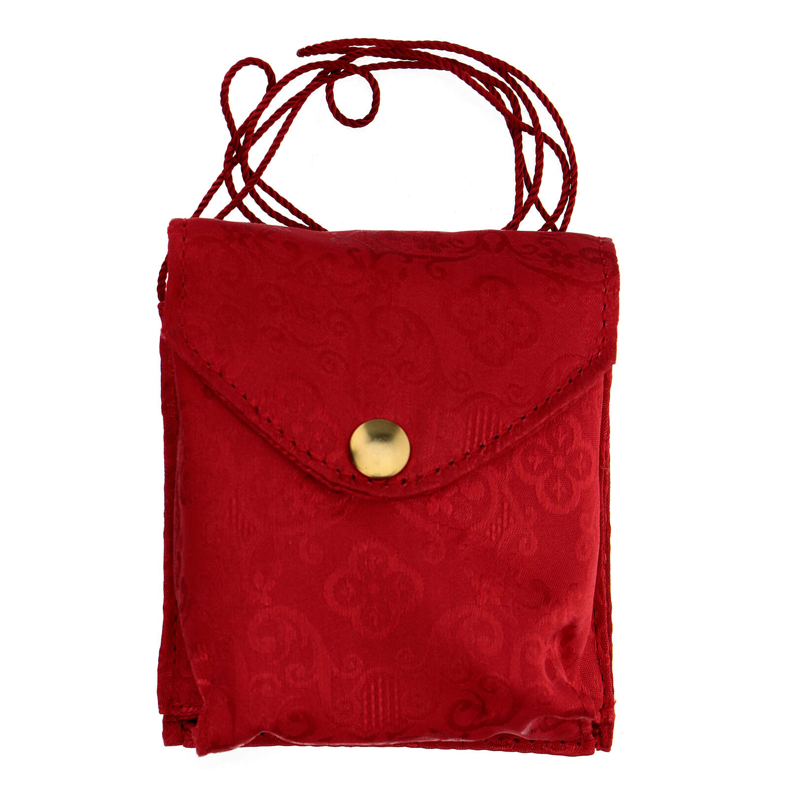Astuccio porta viatico con teca 7,5 cm rosso damascato con cordino 3