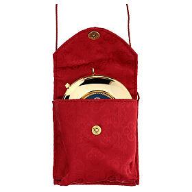 Astuccio porta viatico con teca 7,5 cm rosso damascato con cordino s1