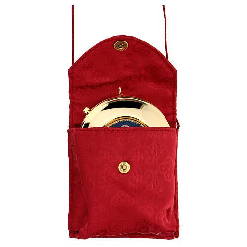 Astuccio porta viatico con teca 7,5 cm rosso damascato con cordino 1