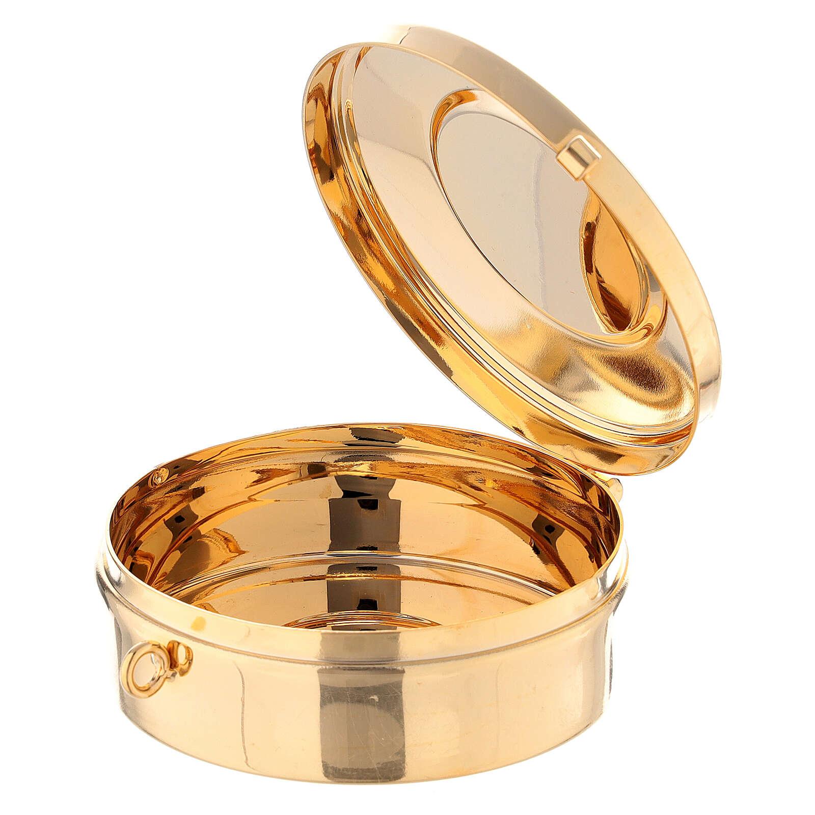 Estuche adamascado de jacquard dorado con cuerda para relicario d. 7,5 cm 3