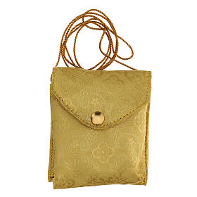 Estuche adamascado de jacquard dorado con cuerda para relicario d. 7,5 cm s6