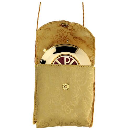 Estuche adamascado de jacquard dorado con cuerda para relicario d. 7,5 cm 1
