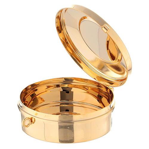 Estuche adamascado de jacquard dorado con cuerda para relicario d. 7,5 cm 4