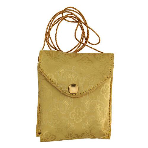 Estuche adamascado de jacquard dorado con cuerda para relicario d. 7,5 cm 6