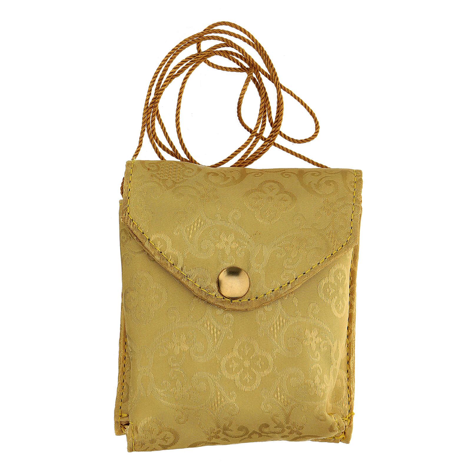 Étui damassé en jacquard doré avec cordelette pour custode à hosties diam. 7,5 cm 3