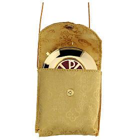 Étui damassé en jacquard doré avec cordelette pour custode à hosties diam. 7,5 cm s1